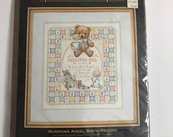Vintage Gold Collection Guardian Angel Birth Record Dimensions Counted Cross Stitch Kit