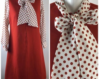 Vintage Vtg 60s Mod Shift Dress Pussy bow Polka Dot GoGo Zipper Brick Red Womens