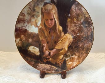 Sand in Her Shoe ~ Thornton Utz ~ Collectible Decorative Plate ~ The Precious Moments Collection ~ 1979 ~ Vintage