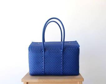 Blue & Aqua Mexican Bag, Hand Woven Mexican Tote, Oaxaca Tote Style, Mexican Plastic Bag, Mexican Basket, Mexican Art, MexiMexi, Picnic