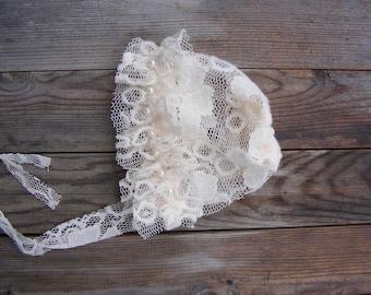 Newborn Photo Prop, Newborn Bonnet, Lace Bonnet, Baby Girl Photo Prop, Baby Bonnet, Photo Props, Christening Bonnet, Newborn hat
