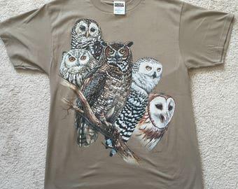 Vintage 90s Owl Nature Tultex T-Shirt- Men's Size Medium- Art by Greg Biolchini