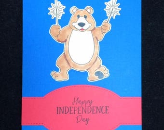 Bear Independence Day Greeting Card