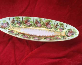 Candy Dish by Arnart, China of Japan, Pink Gold, Victorian Collectible,Gold Dish