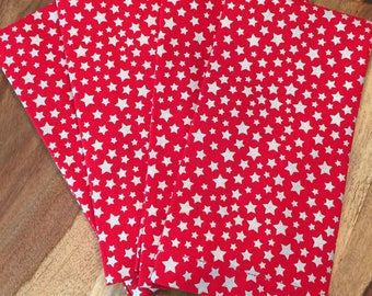 Red napkins with metallic silver stars- Set of 2 or 4