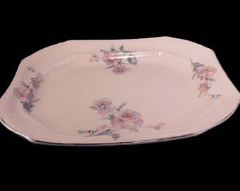 Antique Large Platter, TST, Taylor Smith Taylor, Pastel Pink, Floral, Platinum, Rectangular Serving Platter, Hard To Find, Collectible