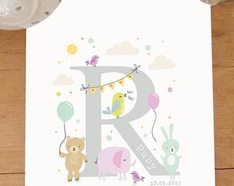 A4 personalised new baby/christening print