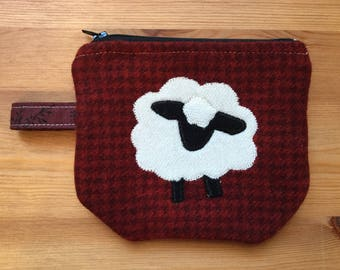 Zip Notion Bag, Wool Applique, Sheep red