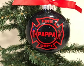 Firefighter maltese Christmas Ornament