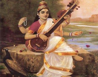 "Raja Ravi Varma ""Goddess Saraswathi"" 1896 Hindu Goddess of Knowledge Arts Widsom Arts India Reproduction Digital Print  Wall Home Decor"