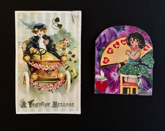 Vintage Valentine Postcard Handmade Card Greetings Used Set of 2 Valentines Decor