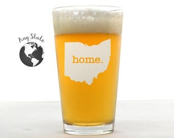 State Pint Glass - Home Pint Glass - Etched Pint Glass - Custom Pint Glass - Pint Glass - Personalized Pint Glass