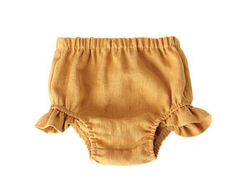 Mustard Linen Flutter Bloomers, baby bloomers, baby shorts, diaper cover, bubble shorts