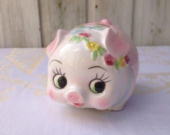 Kitsch piggy bank. Pink and super cute. 1970's.