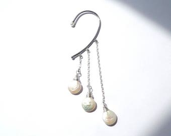 Very exotic magical silver ear cuff with freshwater pearls! so nice so enticing!  Wrap earrings, stering silver long chain. UK seller