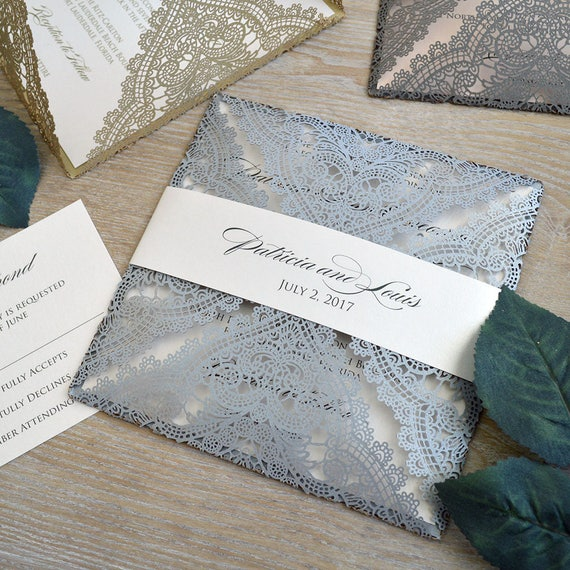CHANTILLY LACE Laser Cut Wrap Invitation - Silver Square Laser Cut Wedding Invitation with Ivory Shimmer Insert and Belly Band