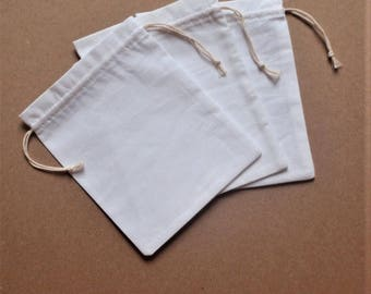 "White Cotton Drawstrin Bags * Promotional Bags * Packing Bags * Custom bags * 25 Pouches * 3.5""x 4.7"" (9cm x 12cm )"