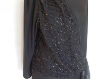 summer sale Vintage dress 80s Black evening dress with sparkly sash size large