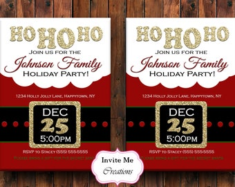 Santa Christmas Invitation, Christmas Party Invite, Santa Suit Invite, Secret Santa Invite, Holiday Party Invitation, Glitter, Personalized