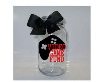 Video Game Fund Mason Jar Bank -  Coin Slot Lid - Available in 3 Sizes