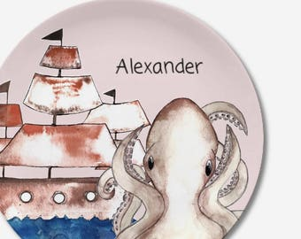 Children's dish pirate ship in the great design with name