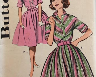 Butterick 9720 misses shirtwaist dress size 14 bust 34 vintage 1960's sewing pattern