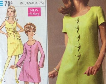 Simplicity 7638 misses dress & sash size 9 bust 32 or size 14 bust 36 Designer Fashion vintage 1960's sewing pattern