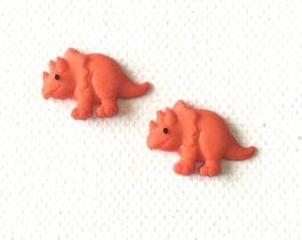 Orange Dinosaur Earrings, Orange Dinosaur Stud Earring, Triceratops Stud Earrings, Orange Dino Earrings, Jurassic, Tiny Dinosaur Earrings,