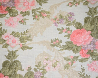 1/2 yard Floral Upholstery Fabric, Floral Fabric, Upholstery Fabric, Thick Floral Fabric, Pink Rose Fabric, Rose Upholstery Fabric