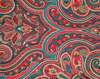 Joan Kessler for Concord Fabrics, Christmas Fabric, Red and Green Paisley Print Quilting Fabric, Paisley Christmas Fabric,