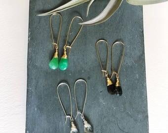 Gemstone Drop Earrings, Kidney Wire Earrings, Turquoise Drop Earrings, Gold Filled Drop Earrings, Silver Turquoise Drop Earrings