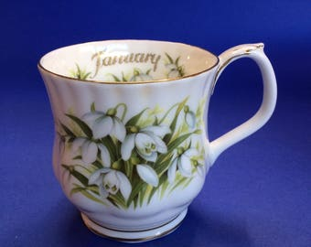 Royal Albert January Snowdrops Flower of the Month English Bone China Coffee Mug Cup