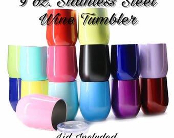 Wine Tumbler/Stainless Steel Wine Tumbler/Powder Coated Wine Tumbler/Monogrammed Wine Tumbler