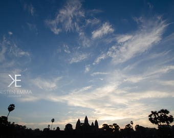 Angkor at Sunrise II | Siem Reap, Cambodia~ Temple, ancient, hindu, architecture, silhouette, blue sky, sunrise, wide angle, Angkor wat,