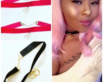 Velvet Choker Necklace with small double heart charm, Available in an assortment of colors.