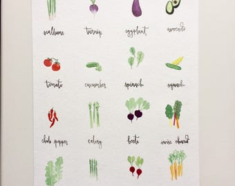 "Vegetable Chart Original Watercolor Painting [9"" x 12""]"