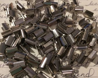 Silver Plated Fold Over Crimps 100 Pieces