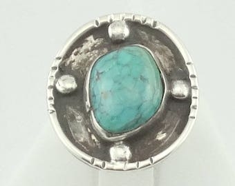 Handmade Funky Traditional Southwest Native American Turquoise Sterling Silver Ring  FREE SHIPPING! #FUNKYNATIVE-SR5