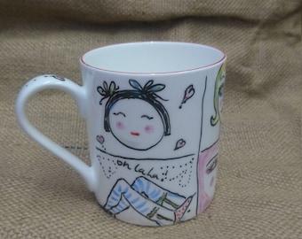 Hand painted British bone china mug.