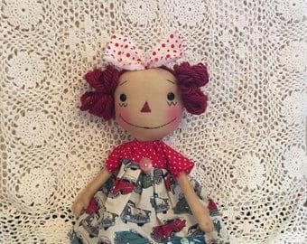 Toy Car Annie/Primitive Raggedy Annie Doll                  (FAAP)