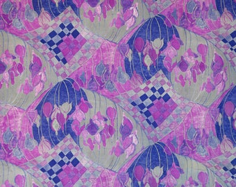 lightweight wool blend fabric gray and purple abstract floral - clothing or decor fabric