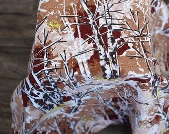 Vintage mid-century barkcloth fabric brown, white, beige maroon winter trees shrubs bushes winter outdoors scene