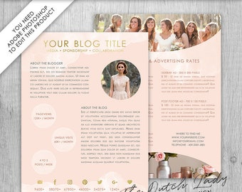 Media Kit Template For Bloggers & Entrepreneurs - Design #4 - INSTANT DOWNLOAD - Layered .PSD Files