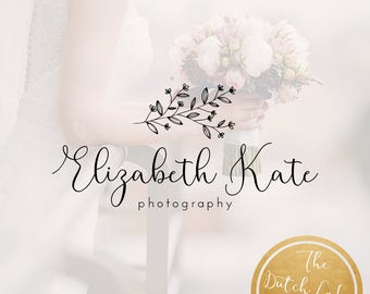 Premade Photography Logo Design - Delivered in Black, White & Gold Color - Design #3 - Elizabeth Kate