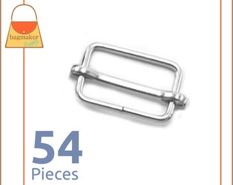 "1 Inch Movable Bar Purse Strap Slides, Nickel Finish, 54 Pieces, Handbag Purse Bag Making Supplies Hardware, 1"", BKS-AA008"