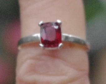 Natural Rhodolite Garnet in Sterling Silver Ring