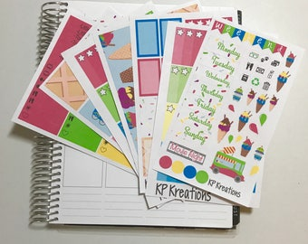 Ice cream social weekly sticker kit for your life planner