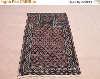 SUMMER SALE 25% OFF Size:4.8 ft by 3 ft Handmade Rug Vintage Afghan Tribal Baluch Prayer Rug