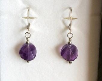 Faceted Amethyst sierling silver leverback earrings