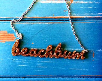 Gold Glitter 'Beach Bum' Necklace